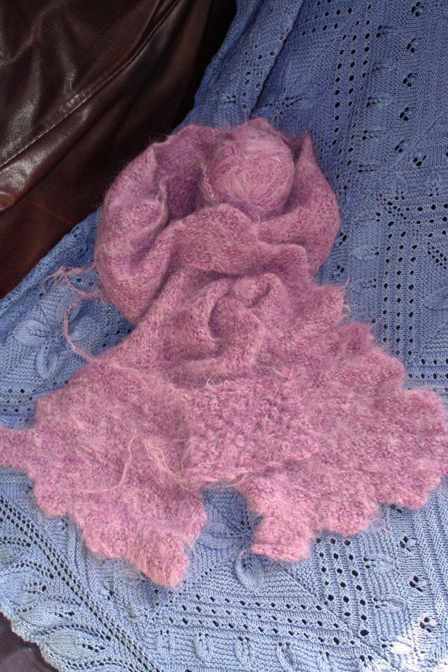 Vogue Scarf pattern in Cushendale Alpaca with Hermione swatch